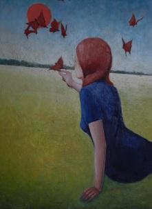Le farfalle del '68, colori acrilici su cartone telato, 35 x 45