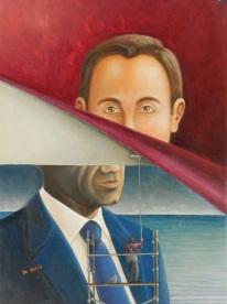 L'homme du jour – dejà passè, olio su tela, 50 x 70