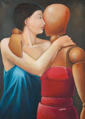 L'abbraccio arcano, olio su tela, 50 x 70