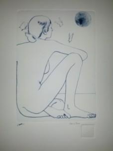 La luna sospesa, stampa/incisione bulino ed acquaforte, 17 x 24,5