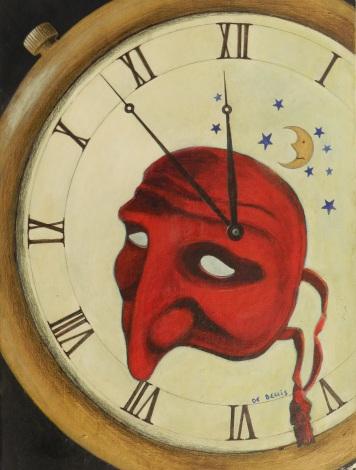 Le ore mascherate, colori acrilici su cartone telato, 30 x 40