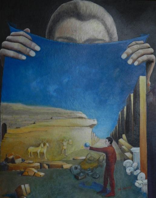 La ricerca di Odisseo, colori acrilici e pastelli su cartone telato, 40 x 50