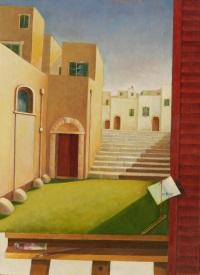 L'acropoli del pendìo, olio su tela, 50 x 70