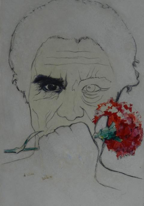 A Vittorini, il garofano rosso, matita e tempera acquerellata, 25 x 35